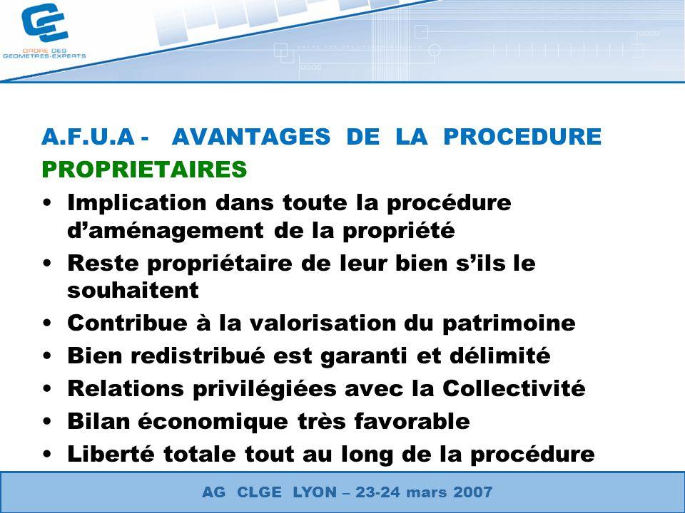 A.F.U.A - AVANTAGES DE LA PROCEDURE PROPRIETAIRES Implication dans toute la procédure daménagement de la propriété Reste propriétaire de leur bien sil