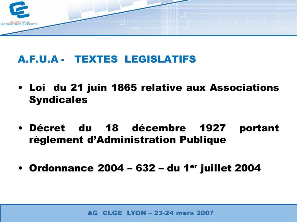 A.F.U.A - TEXTES LEGISLATIFS Loi du 21 juin 1865 relative aux Associations Syndicales Décret du 18 décembre 1927 portant règlement dAdministration Pub