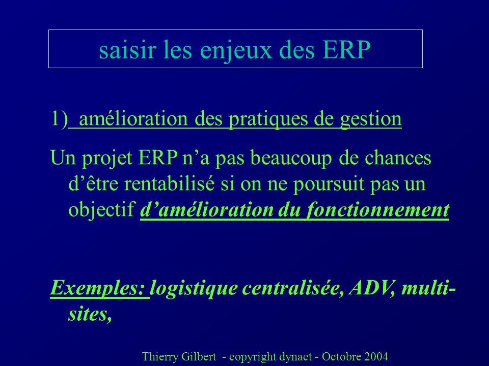 Thierry Gilbert - copyright dynact - Octobre 2004 inconvénients des ERP leur atout (degré dintégration) est aussi une contrainte Complexe et long à pa