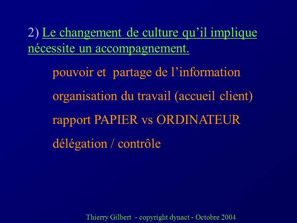 Thierry Gilbert - copyright dynact - Octobre 2004 saisir les enjeux des ERP 1) amélioration des pratiques de gestion Un projet ERP na pas beaucoup de
