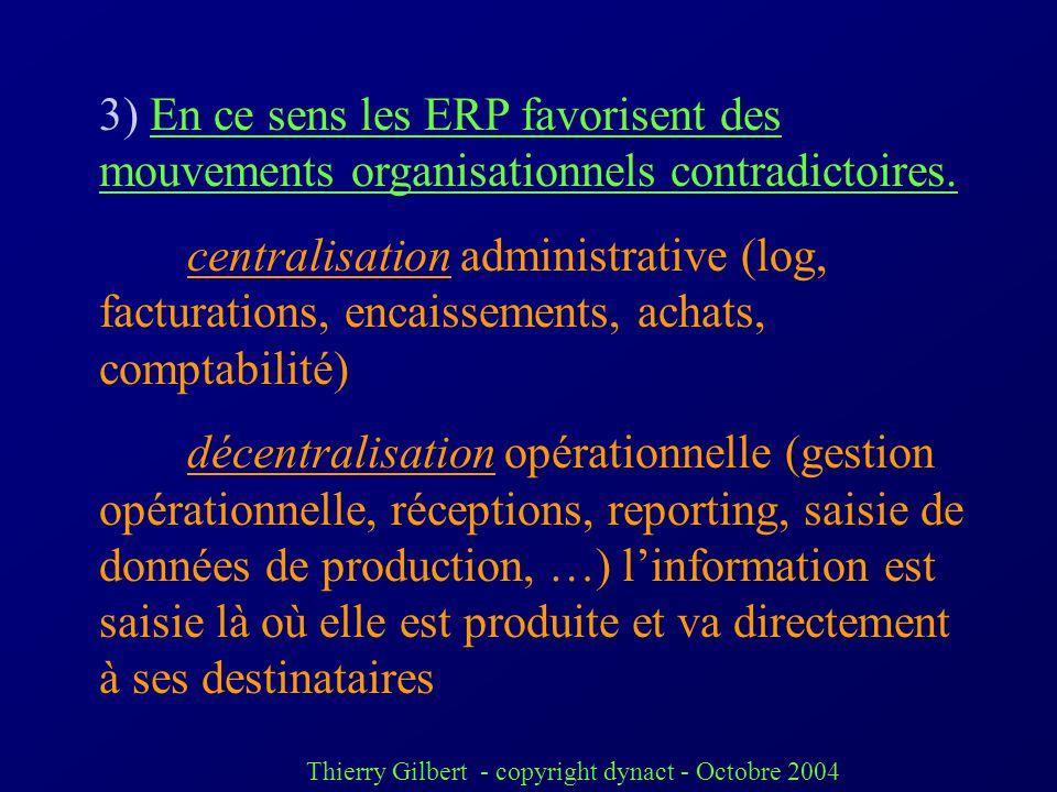 Thierry Gilbert - copyright dynact - Octobre 2004 2) Le changement de culture quil implique nécessite un accompagnement. pouvoir et partage de linform