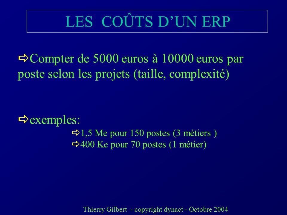 Thierry Gilbert - copyright dynact - Octobre 2004 LES COÛTS DUN ERP Licences, 25 % Paramétrage (intégration) 25 % formation du personnel 10 % Pilotage