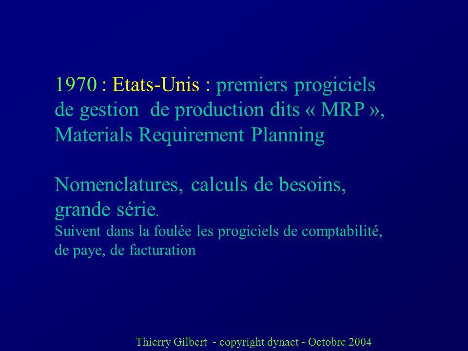Thierry Gilbert - copyright dynact - Octobre 2004 Historique Au « début » de linformatisation, la gestion était toujours spécifique (« métier » unique