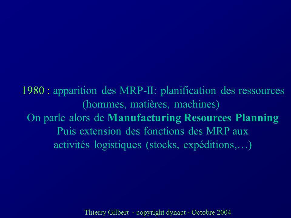 Thierry Gilbert - copyright dynact - Octobre 2004 1970 : Etats-Unis : premiers progiciels de gestion de production dits « MRP », Materials Requirement