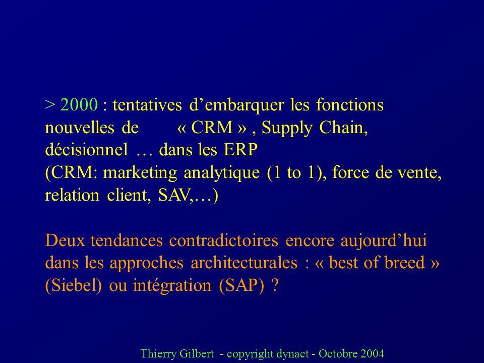 Thierry Gilbert - copyright dynact - Octobre 2004 Doù à partir des années 90 : apparition des ERP (Entreprise Resources Planning) ou PGI (progiciels d