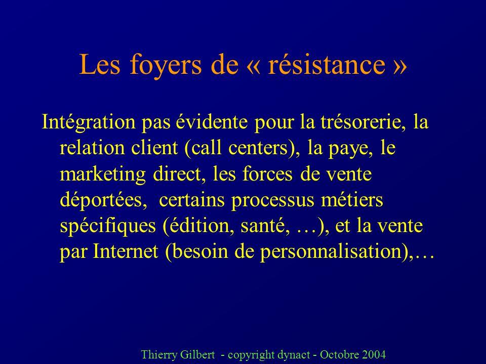 Thierry Gilbert - copyright dynact - Octobre 2004 > 2000 : tentatives dembarquer les fonctions nouvelles de « CRM », Supply Chain, décisionnel … dans