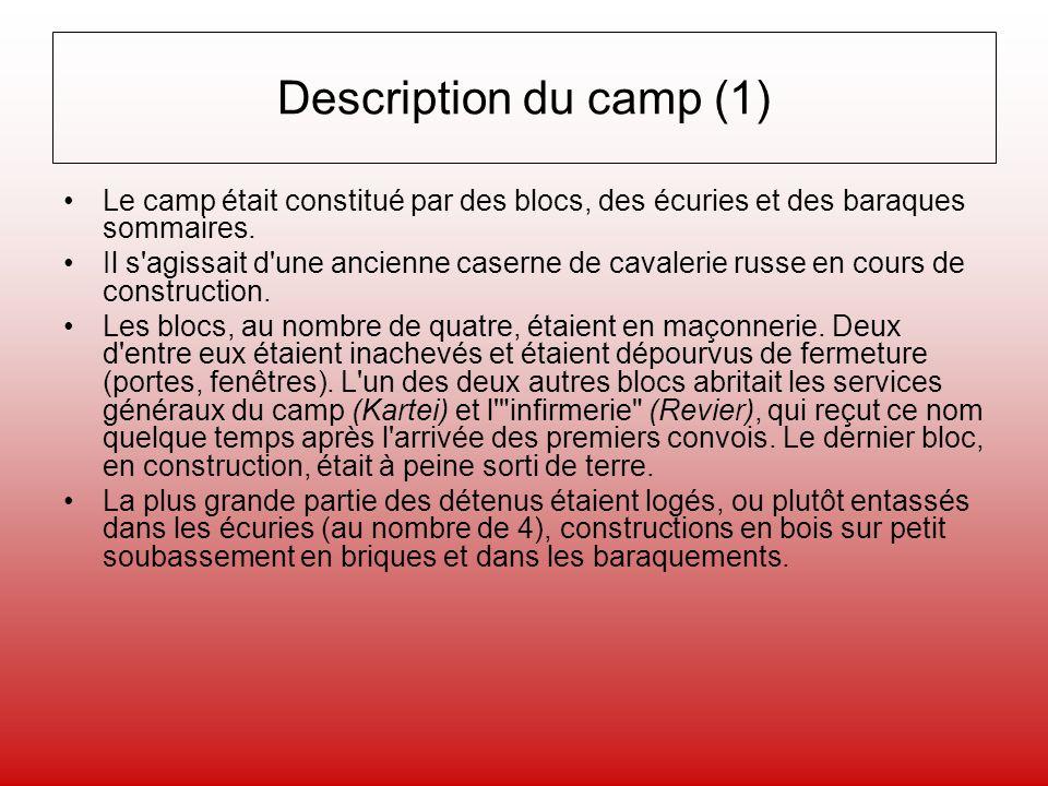 Description du camp (1) Le camp était constitué par des blocs, des écuries et des baraques sommaires. Il s'agissait d'une ancienne caserne de cavaleri