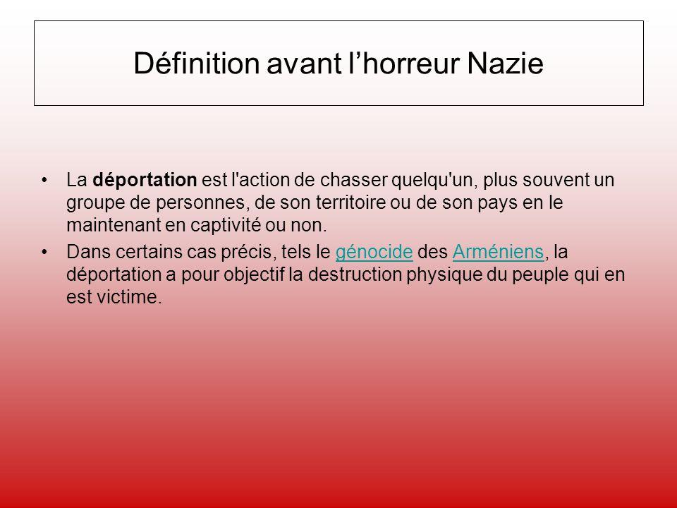 Définition avant lhorreur Nazie La déportation est l'action de chasser quelqu'un, plus souvent un groupe de personnes, de son territoire ou de son pay
