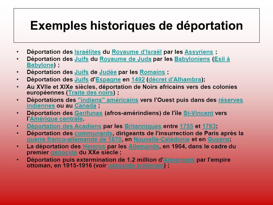 Exemples historiques de déportation Déportation des Israélites du Royaume d'Israël par les Assyriens ;IsraélitesRoyaume d'IsraëlAssyriens Déportation