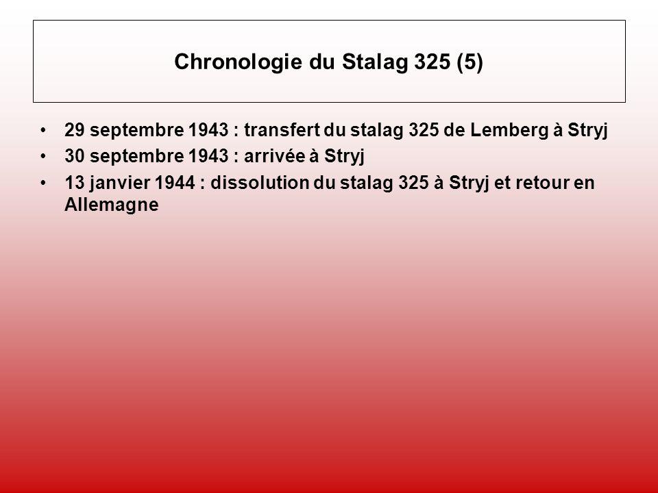 Chronologie du Stalag 325 (5) 29 septembre 1943 : transfert du stalag 325 de Lemberg à Stryj 30 septembre 1943 : arrivée à Stryj 13 janvier 1944 : dissolution du stalag 325 à Stryj et retour en Allemagne