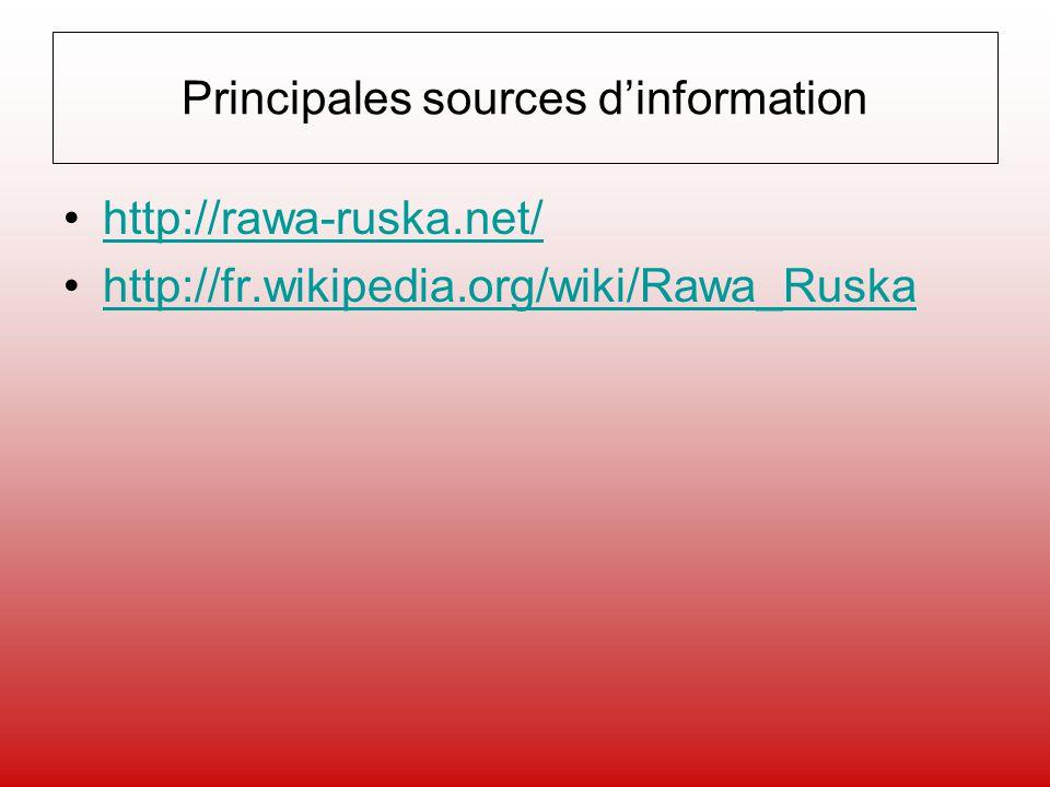 Principales sources dinformation http://rawa-ruska.net/ http://fr.wikipedia.org/wiki/Rawa_Ruska