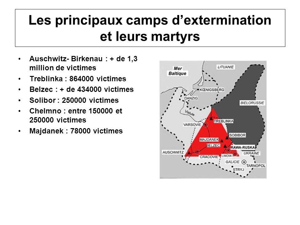 Les principaux camps dextermination et leurs martyrs Auschwitz- Birkenau : + de 1,3 million de victimes Treblinka : 864000 victimes Belzec : + de 4340
