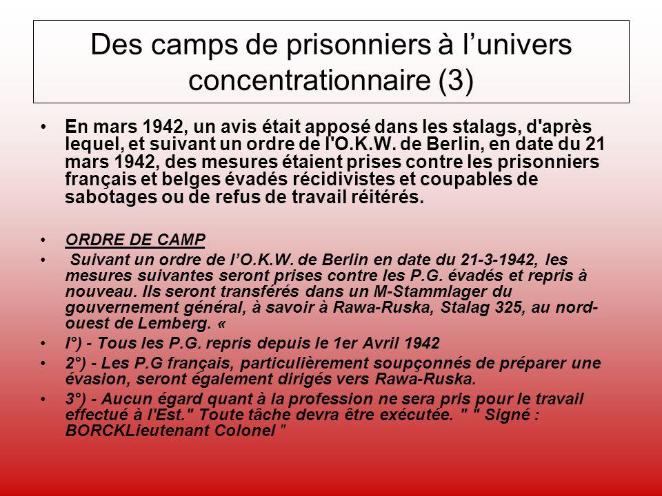 Des camps de prisonniers à lunivers concentrationnaire (3) En mars 1942, un avis était apposé dans les stalags, d'après lequel, et suivant un ordre de