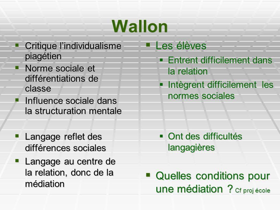 Wallon Critique lindividualisme piagétien Critique lindividualisme piagétien Norme sociale et différentiations de classe Norme sociale et différentiat