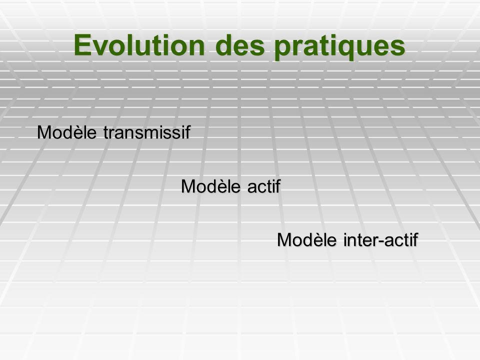 Evolution des pratiques Modèle transmissif Modèle actif Modèle inter-actif