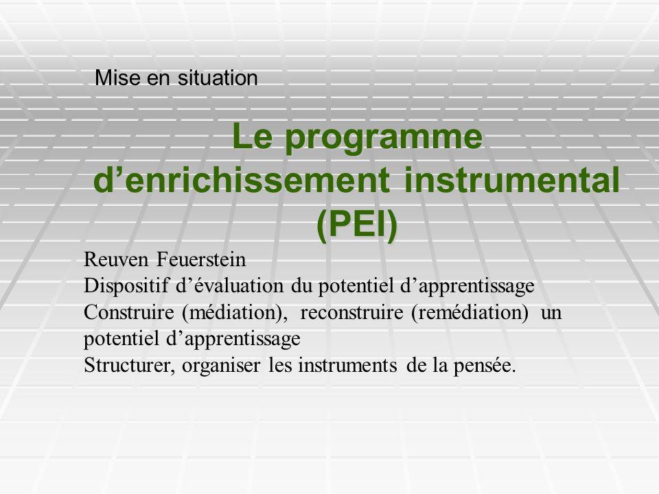 Le programme denrichissement instrumental (PEI) Mise en situation Reuven Feuerstein Dispositif dévaluation du potentiel dapprentissage Construire (méd