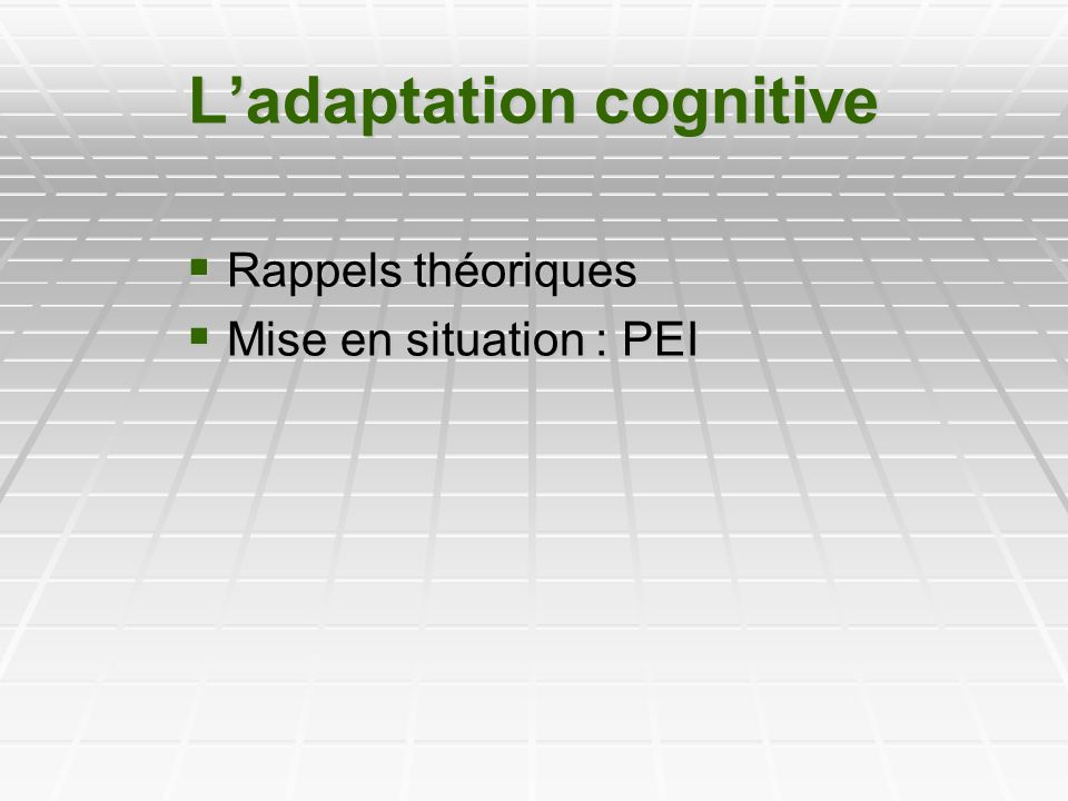 Ladaptation cognitive Rappels théoriques Rappels théoriques Mise en situation : PEI Mise en situation : PEI