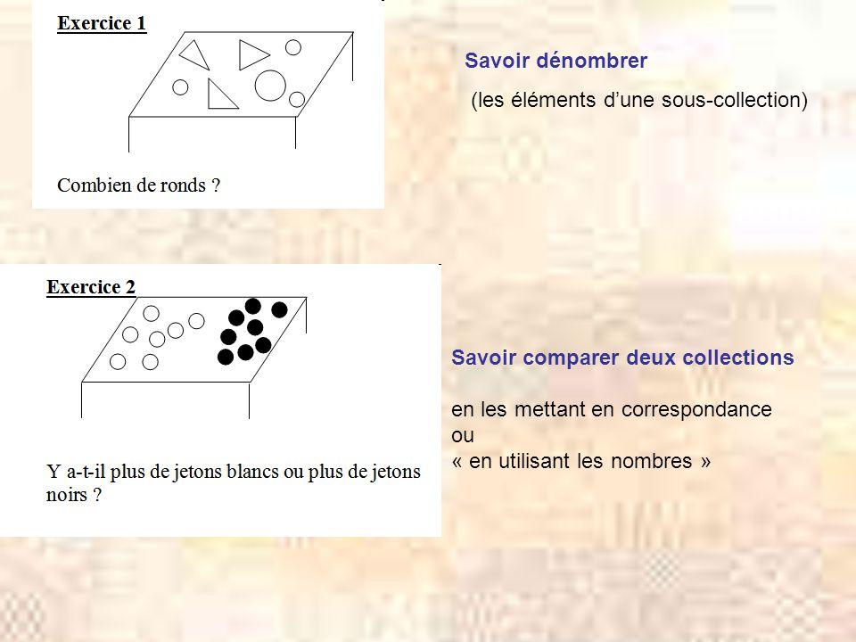 Savoir dénombrer (les éléments dune sous-collection) Savoir comparer deux collections en les mettant en correspondance ou « en utilisant les nombres »