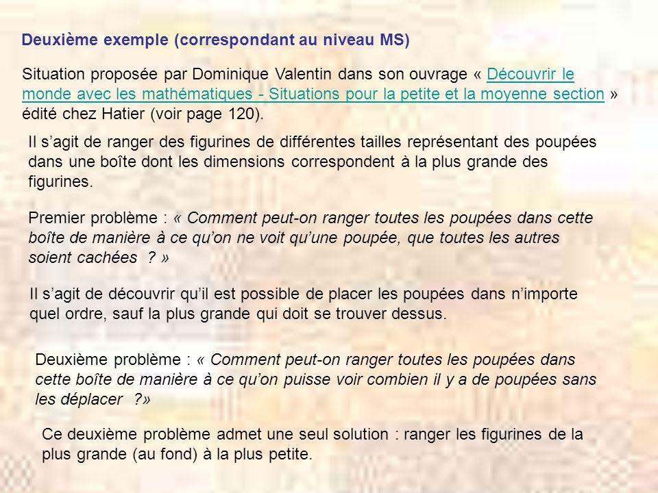 Deuxième exemple (correspondant au niveau MS) Situation proposée par Dominique Valentin dans son ouvrage « Découvrir le monde avec les mathématiques -
