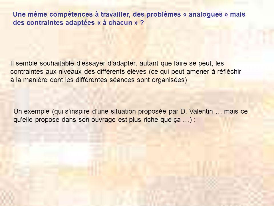 Une même compétences à travailler, des problèmes « analogues » mais des contraintes adaptées « à chacun » .