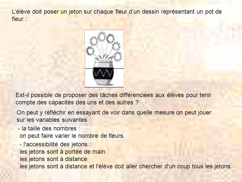 Lélève doit poser un jeton sur chaque fleur dun dessin représentant un pot de fleur : Est-il possible de proposer des tâches différenciées aux élèves pour tenir compte des capacités des uns et des autres .