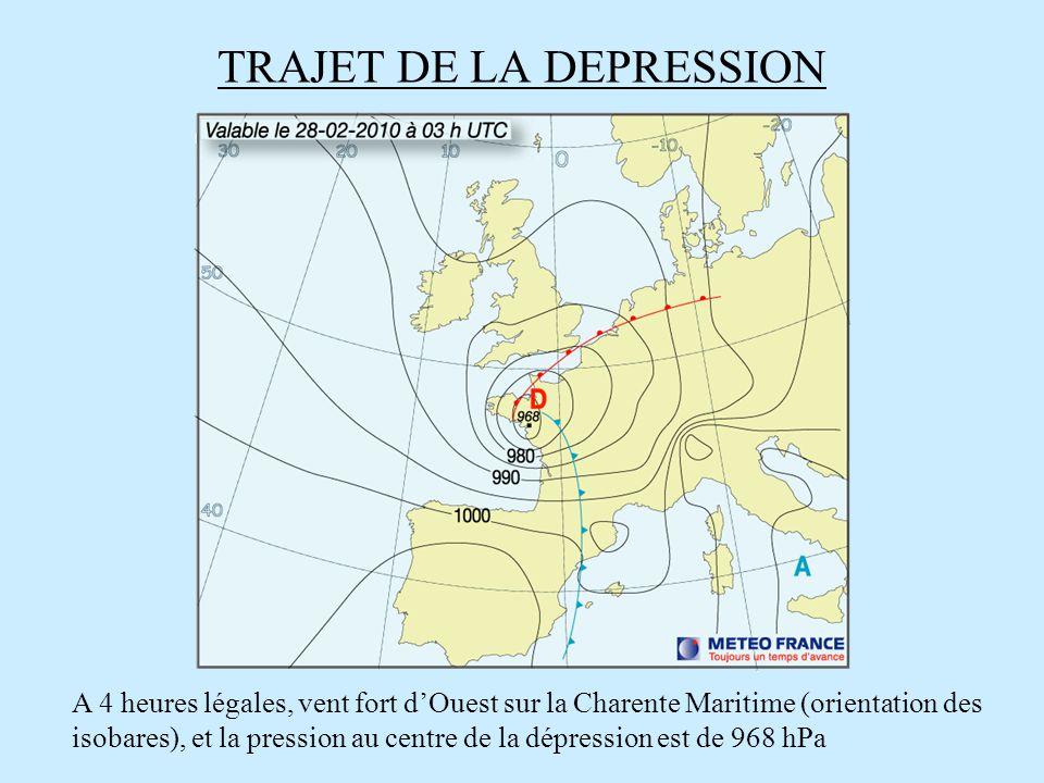 TRAJET DE LA DEPRESSION A 4 heures légales, vent fort dOuest sur la Charente Maritime (orientation des isobares), et la pression au centre de la dépre