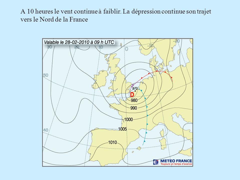 A 10 heures le vent continue à faiblir. La dépression continue son trajet vers le Nord de la France