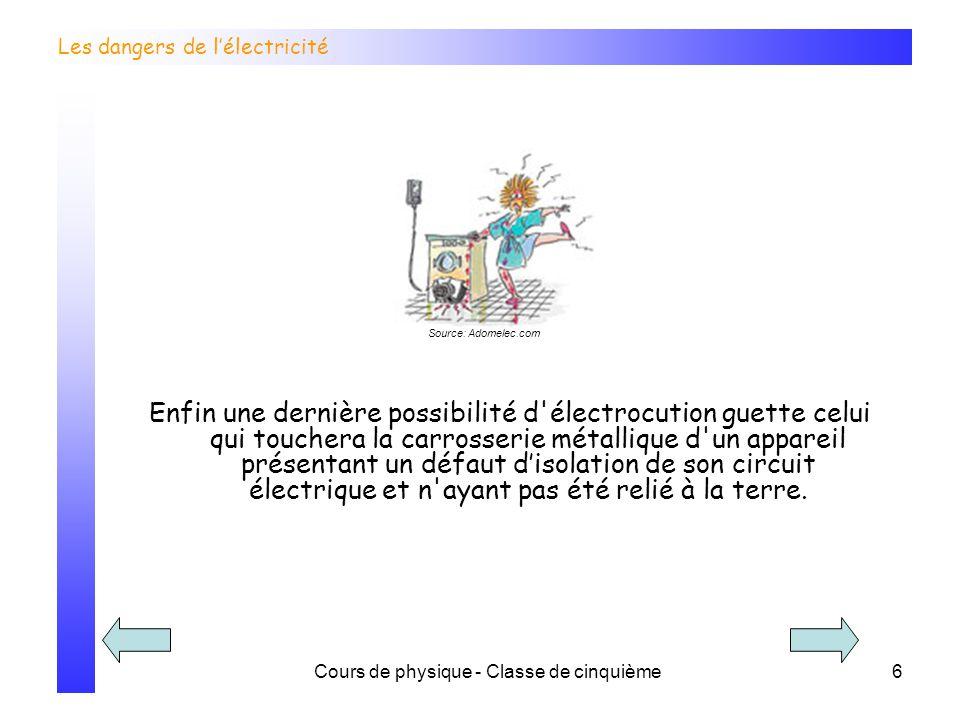Cours de physique - Classe de cinquième7 Les dangers de lélectricité Une fois sur ce site, choisis le jeu « chachoc ».
