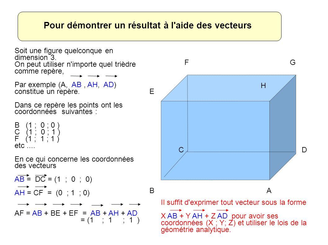 AB CD E FG H Pour démontrer un résultat à l aide des vecteurs Soit une figure quelconque en dimension 3.