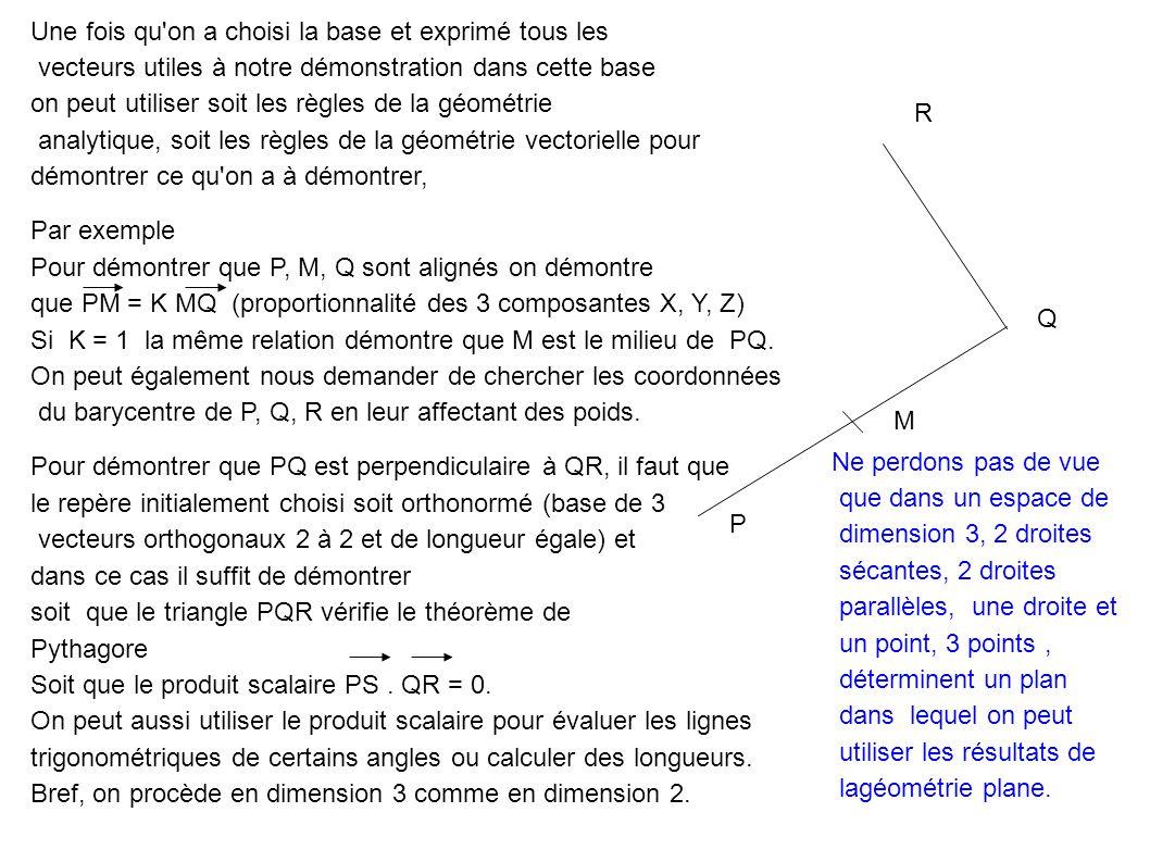 P M Q R Une fois qu on a choisi la base et exprimé tous les vecteurs utiles à notre démonstration dans cette base on peut utiliser soit les règles de la géométrie analytique, soit les règles de la géométrie vectorielle pour démontrer ce qu on a à démontrer, Par exemple Pour démontrer que P, M, Q sont alignés on démontre que PM = K MQ (proportionnalité des 3 composantes X, Y, Z) Si K = 1 la même relation démontre que M est le milieu de PQ.