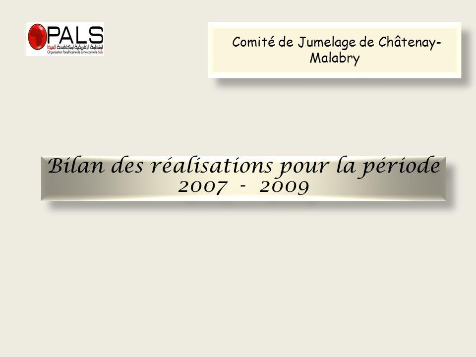 Bilan des réalisations pour la période 2007 - 2009 Bilan des réalisations pour la période 2007 - 2009 Comité de Jumelage de Châtenay- Malabry