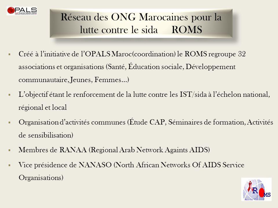 Créé à linitiative de lOPALS Maroc(coordination) le ROMS regroupe 32 associations et organisations (Santé, Éducation sociale, Développement communauta