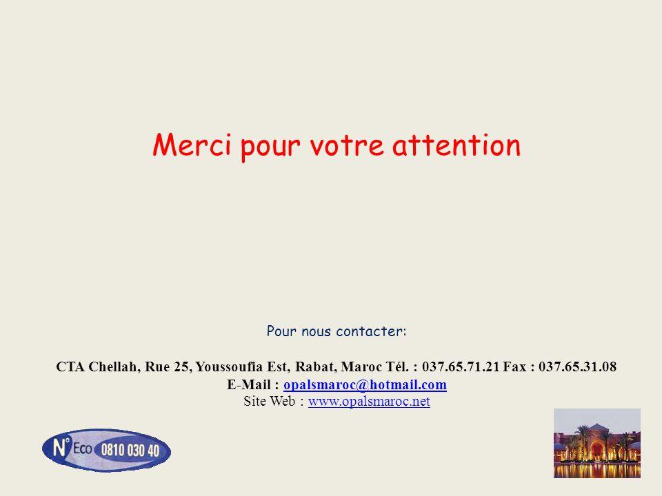 Merci pour votre attention Pour nous contacter: CTA Chellah, Rue 25, Youssoufia Est, Rabat, Maroc Tél. : 037.65.71.21 Fax : 037.65.31.08 E-Mail : opal