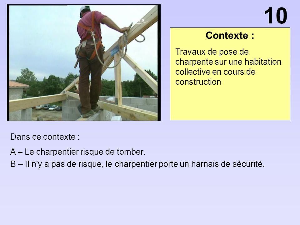 Contexte : Dans ce contexte : A – Le charpentier risque de tomber. B – Il n'y a pas de risque, le charpentier porte un harnais de sécurité. Travaux de