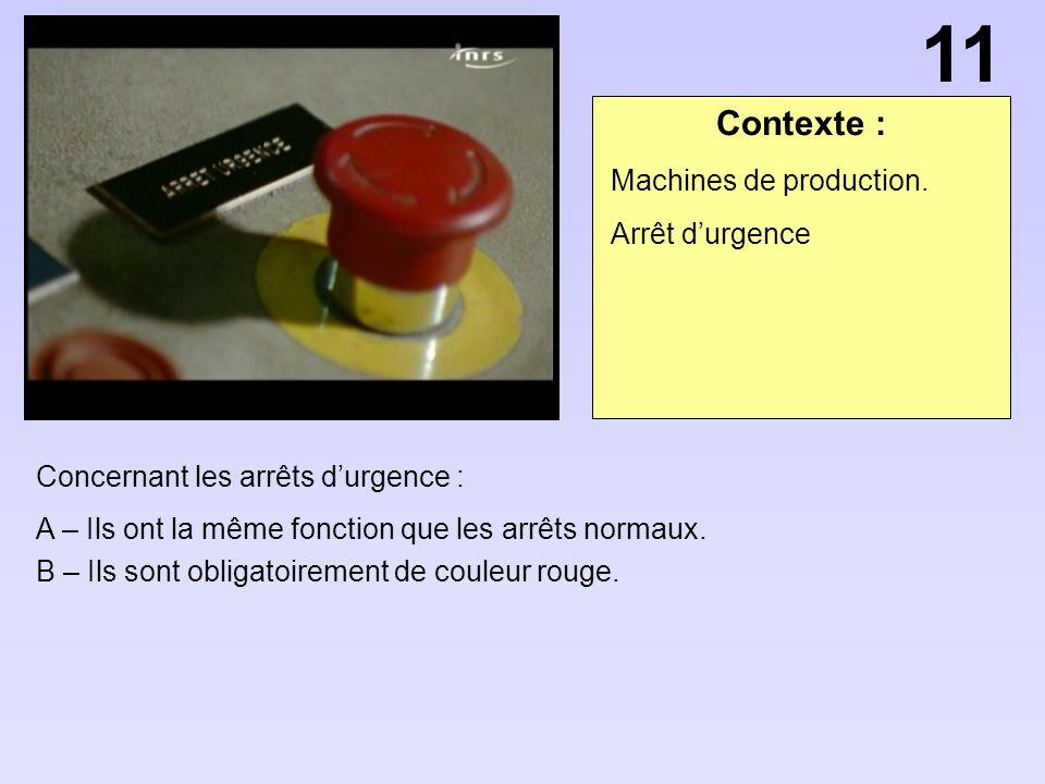 Contexte : Concernant les arrêts durgence : A – Ils ont la même fonction que les arrêts normaux. B – Ils sont obligatoirement de couleur rouge. Machin