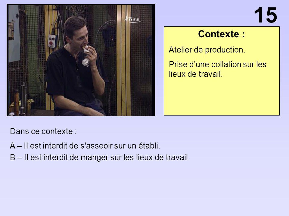 Contexte : Dans ce contexte : A – Il est interdit de s'asseoir sur un établi. B – Il est interdit de manger sur les lieux de travail. Atelier de produ