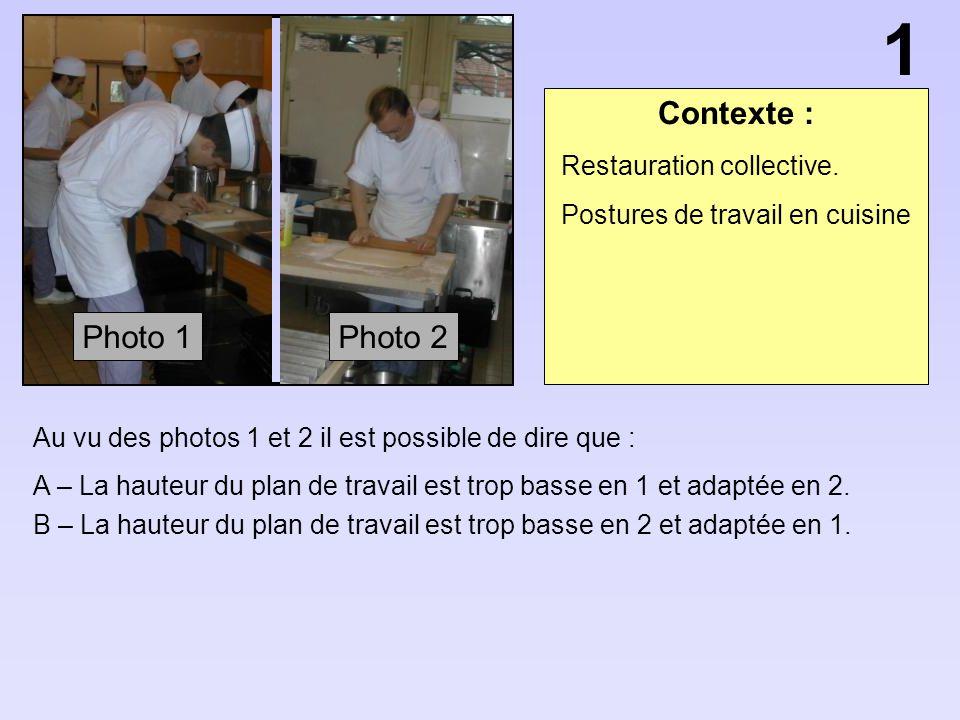 Contexte : Au vu des photos 1 et 2 il est possible de dire que : A – La hauteur du plan de travail est trop basse en 1 et adaptée en 2. B – La hauteur