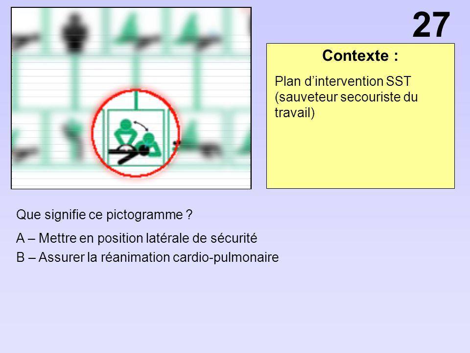 Contexte : Que signifie ce pictogramme ? A – Mettre en position latérale de sécurité B – Assurer la réanimation cardio-pulmonaire Plan dintervention S