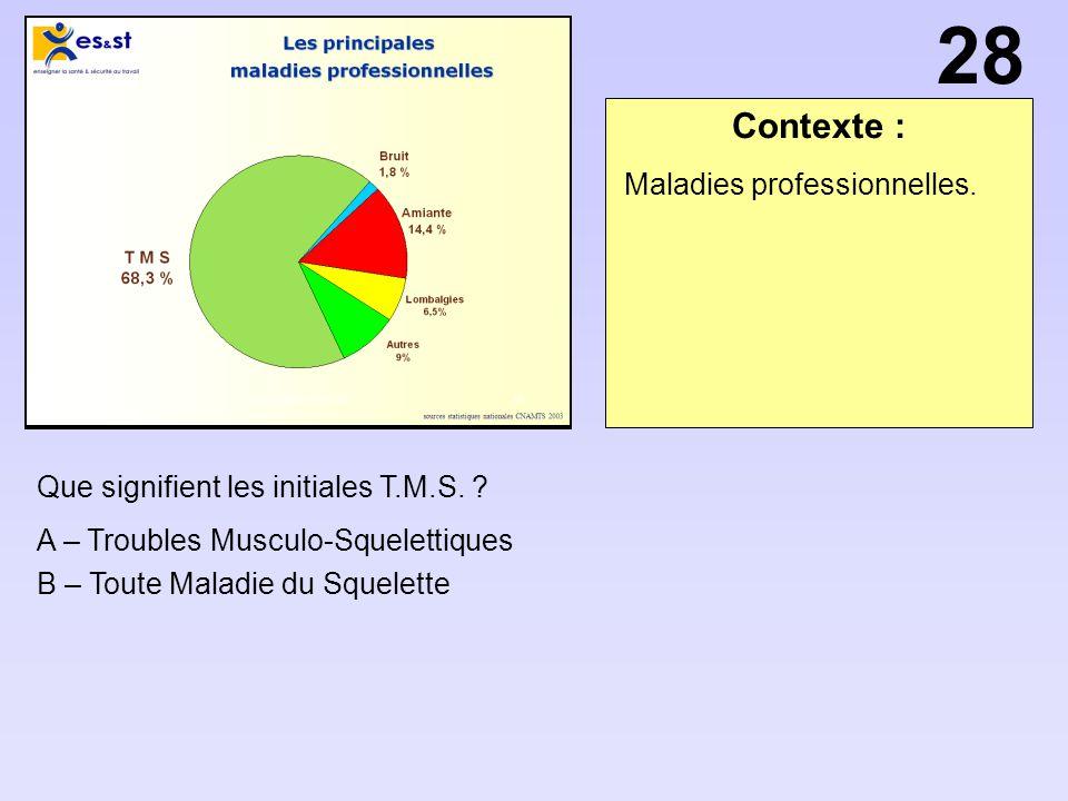 Contexte : Que signifient les initiales T.M.S. ? A – Troubles Musculo-Squelettiques B – Toute Maladie du Squelette Maladies professionnelles. 28