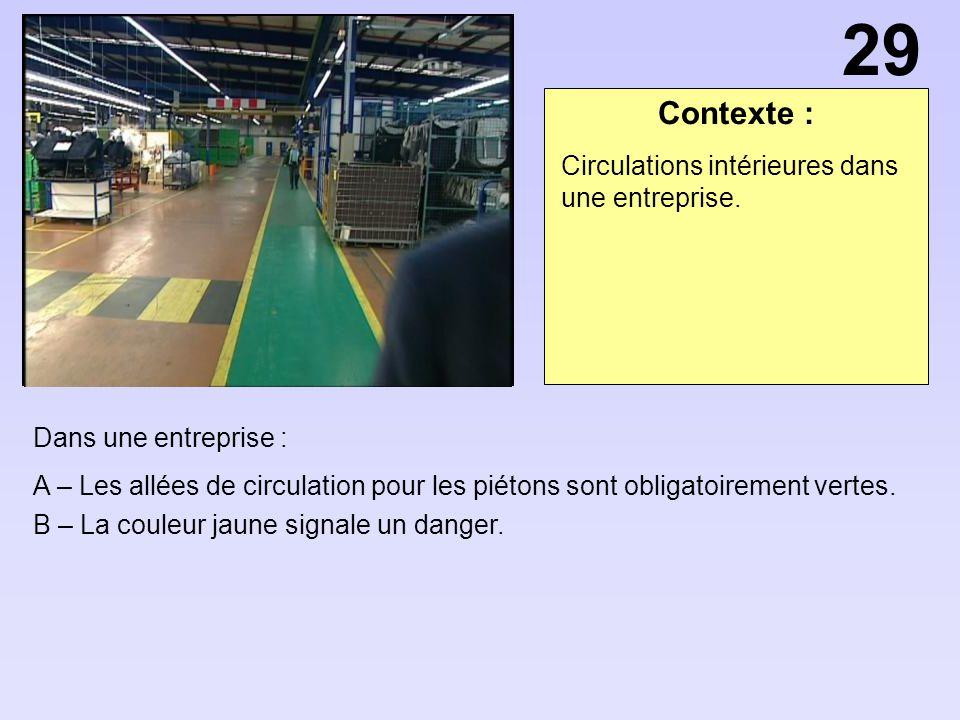 Contexte : Dans une entreprise : A – Les allées de circulation pour les piétons sont obligatoirement vertes. B – La couleur jaune signale un danger. C