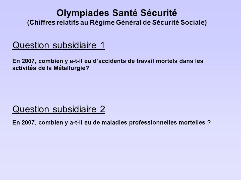 Olympiades Santé Sécurité (Chiffres relatifs au Régime Général de Sécurité Sociale) Question subsidiaire 1 En 2007, combien y a-t-il eu daccidents de