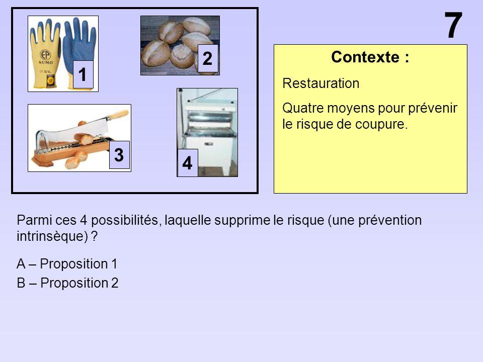 Contexte : Parmi ces 4 possibilités, laquelle supprime le risque (une prévention intrinsèque) ? A – Proposition 1 B – Proposition 2 Restauration Quatr
