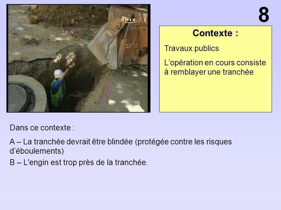 Contexte : Dans ce contexte : A – La tranchée devrait être blindée (protégée contre les risques déboulements) B – L'engin est trop près de la tranchée
