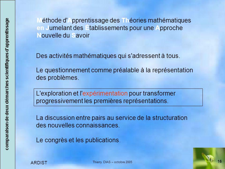 16 ARDIST Thierry DIAS – octobre 2005 Des activités mathématiques qui s adressent à tous.