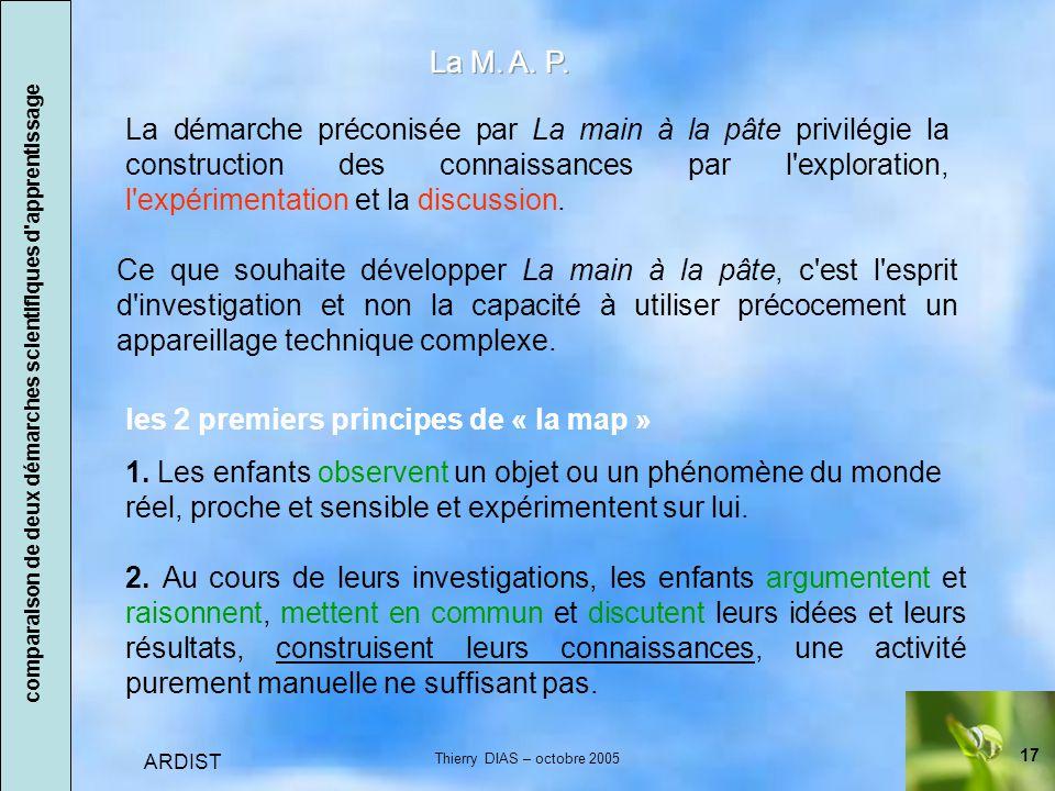 17 ARDIST Thierry DIAS – octobre 2005 les 2 premiers principes de « la map » 1.