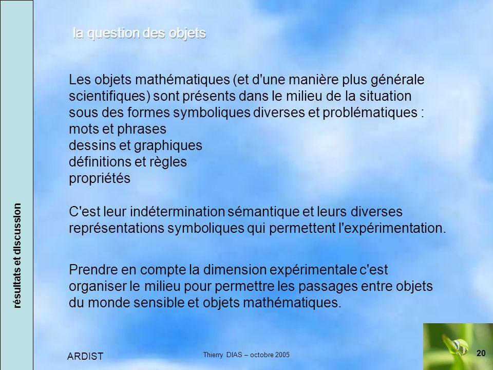 20 ARDIST Thierry DIAS – octobre 2005 Prendre en compte la dimension expérimentale c est organiser le milieu pour permettre les passages entre objets du monde sensible et objets mathématiques.
