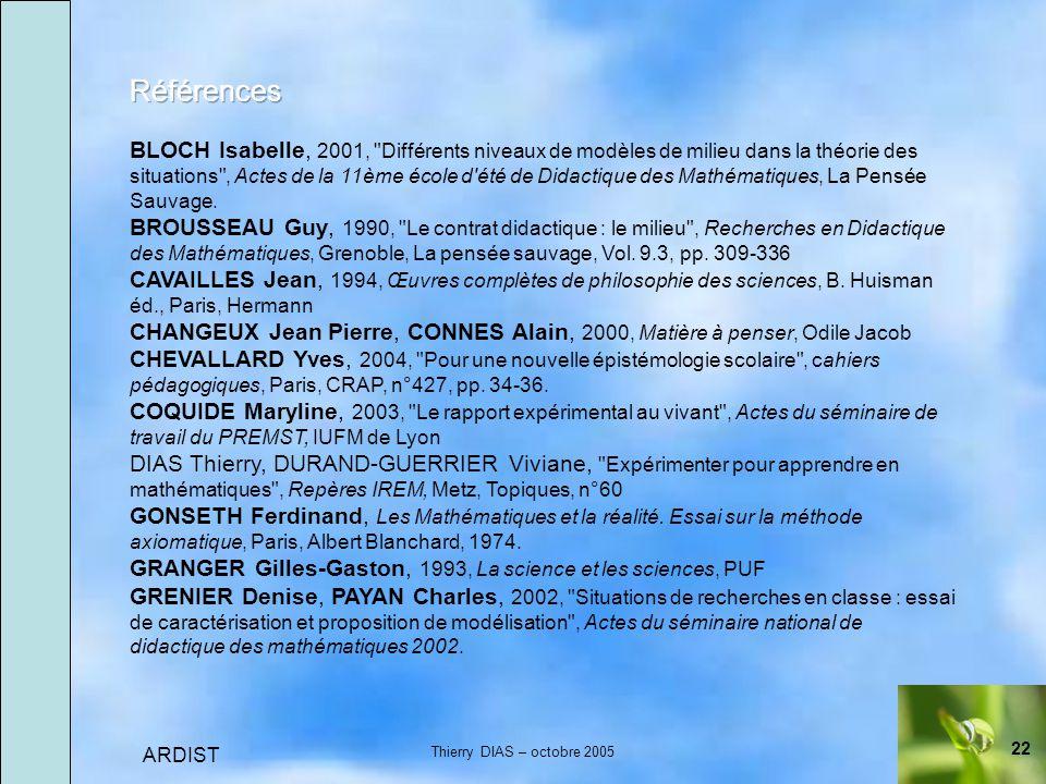 22 ARDIST Thierry DIAS – octobre 2005