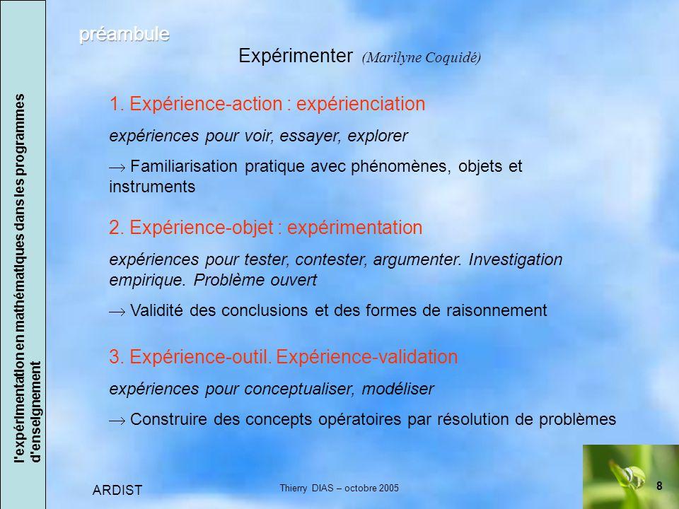 8 ARDIST Thierry DIAS – octobre 2005 Expérimenter (Marilyne Coquidé) 3.