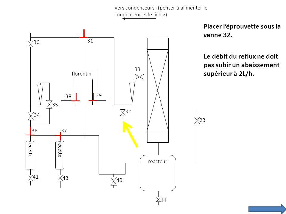 recette florentin réacteur 30 31 34 35 33 39 38 3736 23 11 43 41 40 32 Vers condenseurs : (penser à alimenter le condenseur et le liebig) Placer lépro