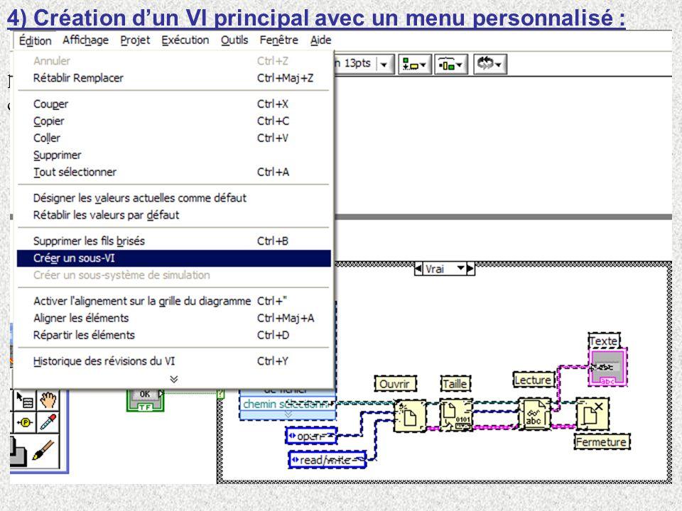 4) Création dun VI principal avec un menu personnalisé : Nous allons créer un programme principal avec 3 menus principaux, derrière lesquels on défini